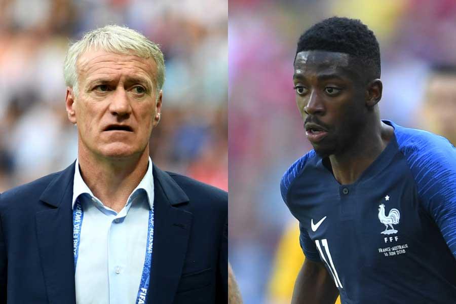 フランス代表のデシャン監督(左)が、デンベレ(右)の遅刻癖に言及している【写真:Getty Images】
