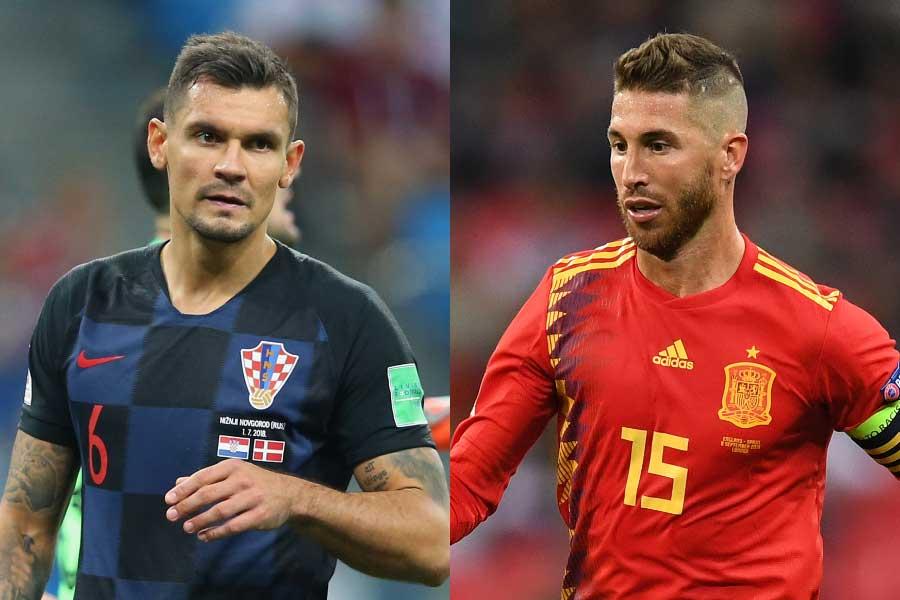 クロアチア代表DFデヤン・ロブレン(左)、スペイン代表DFセルヒオ・ラモス(右)【写真:Getty Images】