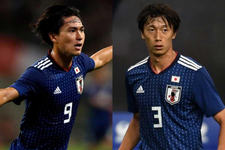 (左から)日本代表MF南野、DF室屋【写真:田口有史&Getty Images】