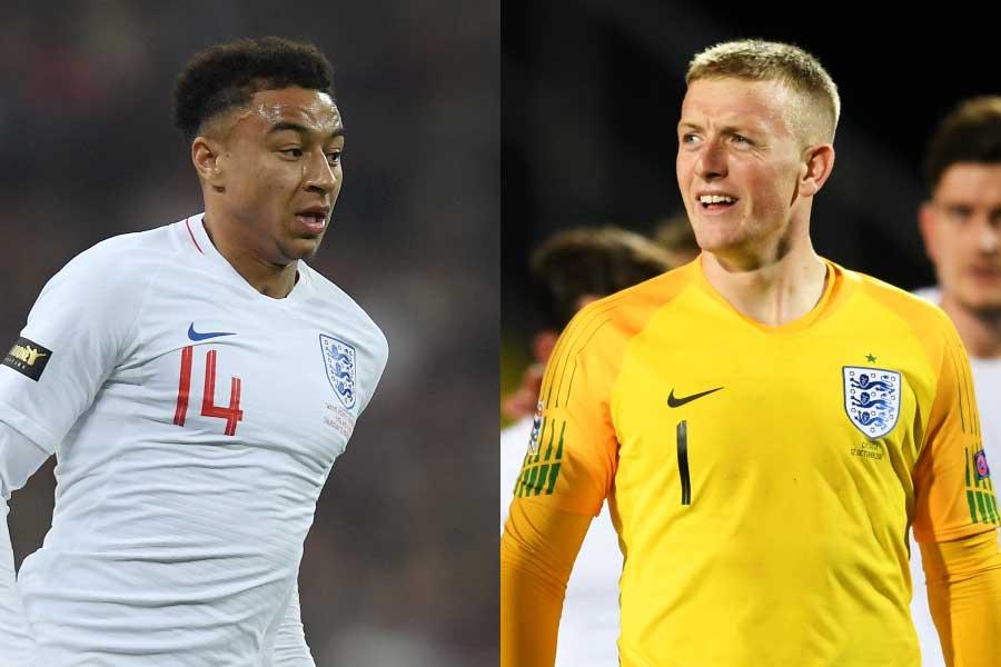 イングランド代表のMFリンガード(左)、GKピックフォード(右)【写真:Getty Images】