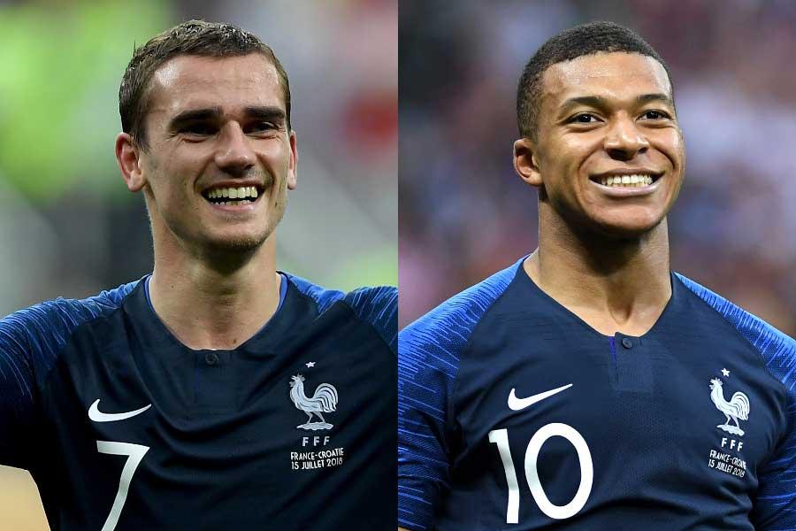 フランス代表のグリーズマン(左)、ムバッペ(右)【写真:Getty Images】
