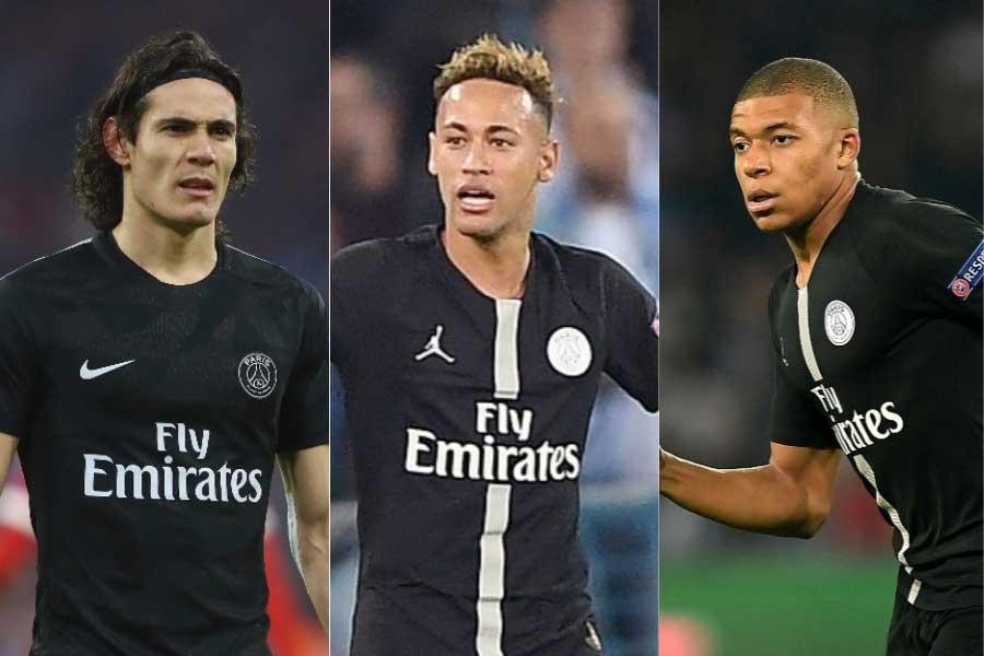 PSGが誇る豪華3トップ(左から) カバーニ、ネイマール、ムバッペ【写真:Getty Images】