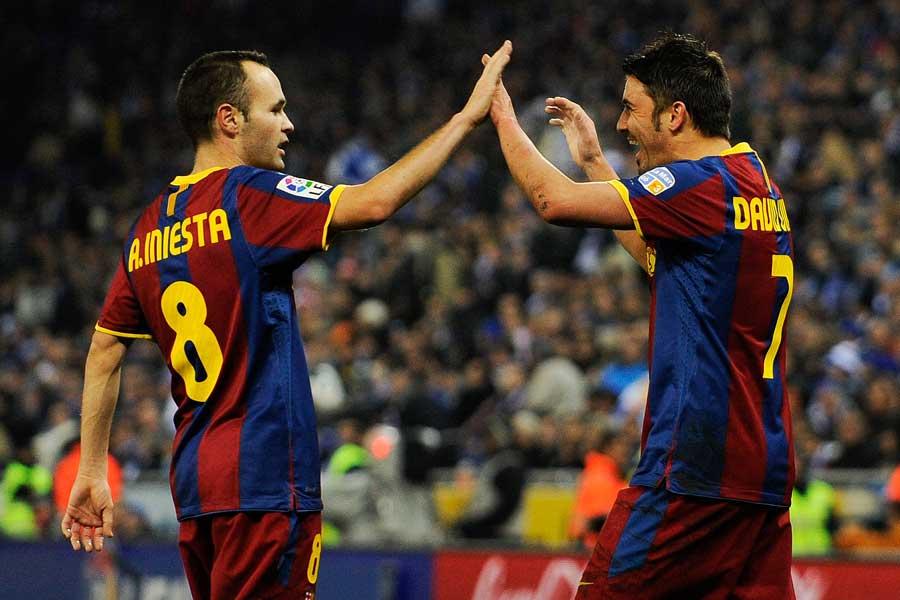バルサやスペイン代表で共闘したイニエスタとビジャ【写真:Getty Images】