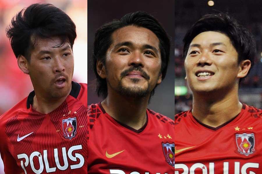 (左から)MF青木拓矢、FW興梠慎三、FW武藤雄樹【写真:Getty Images】