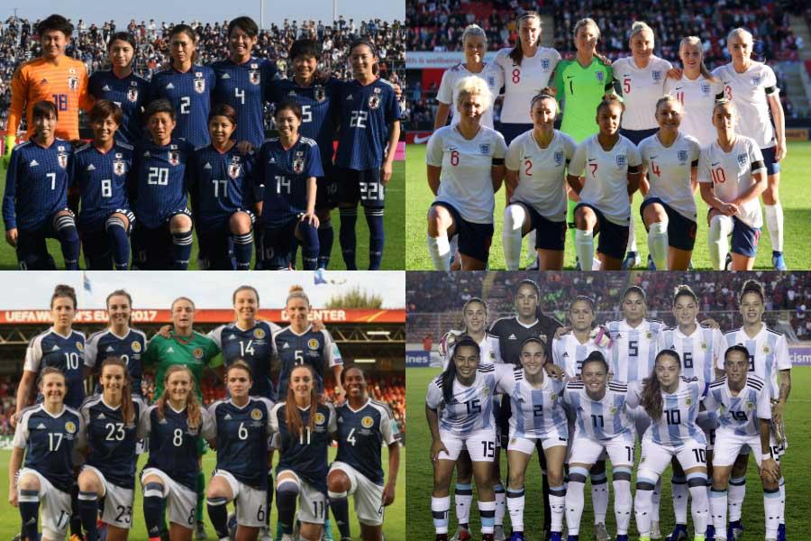 なでしこジャパンはイングランド、スコットランド、アルゼンチンと同組となるグループDに入った【写真:Getty Images & AP】