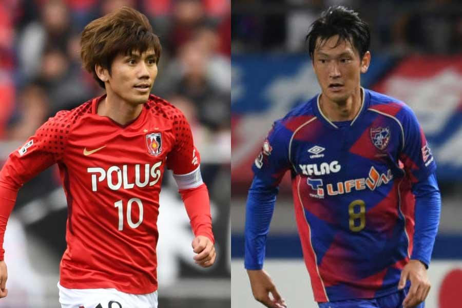 (左から)浦和レッズMF柏木、FC東京MF高萩【写真:Getty Images】