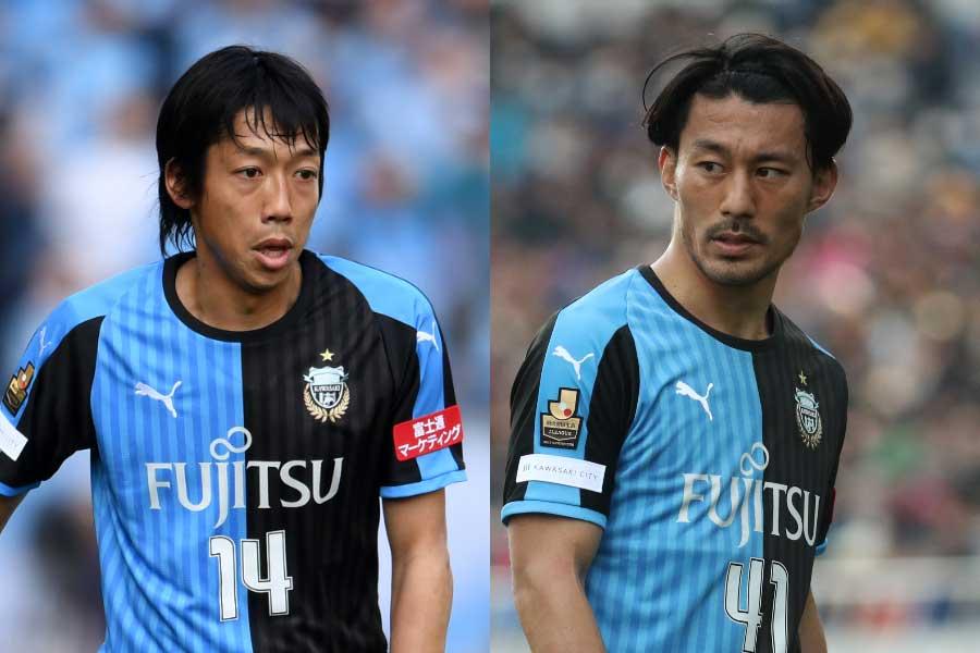 中村(左)が自身のツイッターで、家長(右)を称賛している【写真:Getty Images & Football ZONE web】