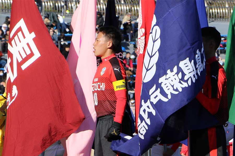 選手宣誓を務めた瀬戸内の佐々木達也主将【写真:Football ZONE web】
