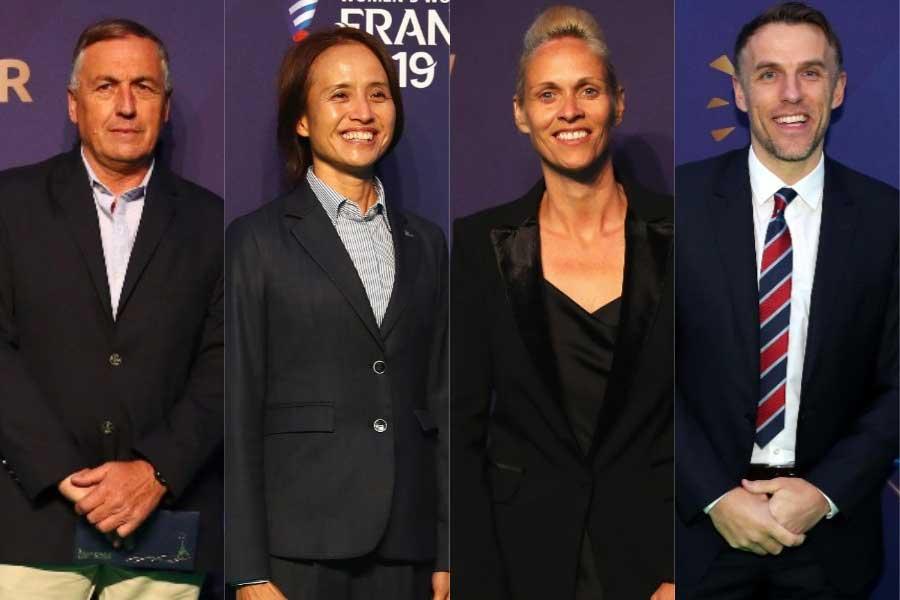 (左から)アルゼンチン代表のボレジョ監督、日本代表の高倉監督、スコットランド代表のカー監督、イングランド代表のネビル監督【写真:Getty Images】