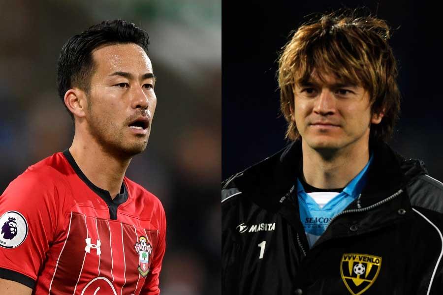 吉田麻也(左)が元同僚カレン・ロバート(右)の日本復帰にエールを送っている【写真:Getty Images】