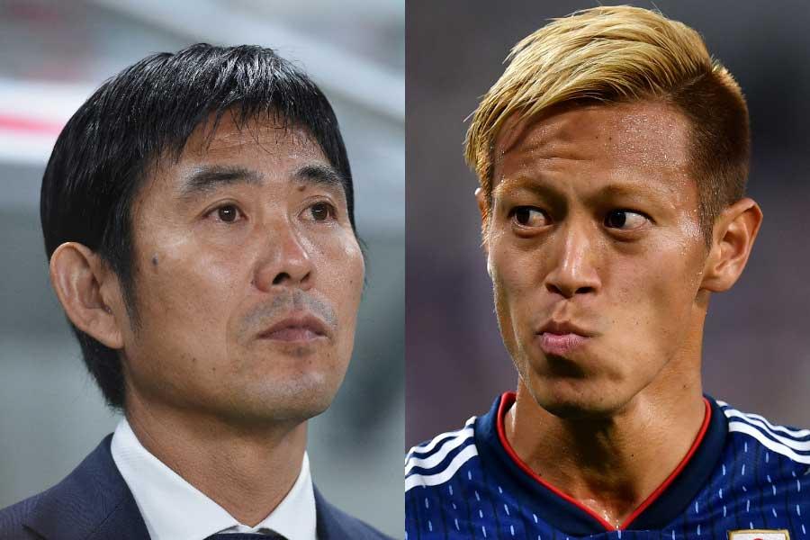 日本代表を率いる森保監督(左)、ロシアW杯を最後に事実上の代表引退を表明した本田(右)【写真:Getty Images】