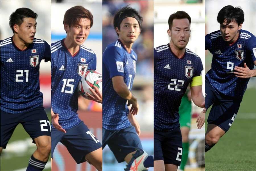 (左から)  堂安、大迫、柴崎、吉田、南野【写真:©AFC & AP & Getty Images】