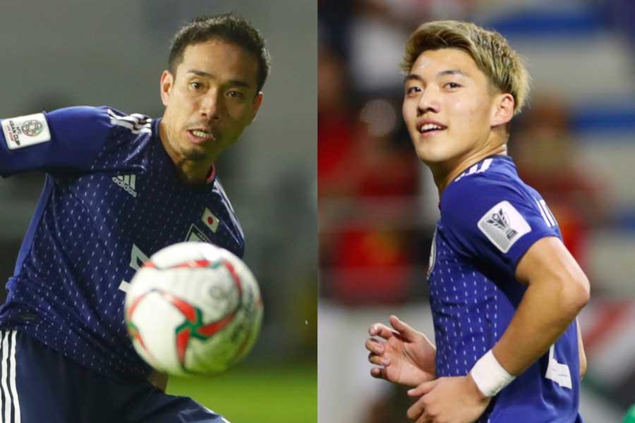 (左から)日本代表DF長友、MF堂安【写真:Yukihito Taguchi】