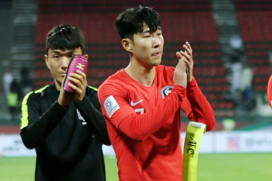 アジアカップでチームを離れている韓国代表のFWソン・フンミン【写真:AP】