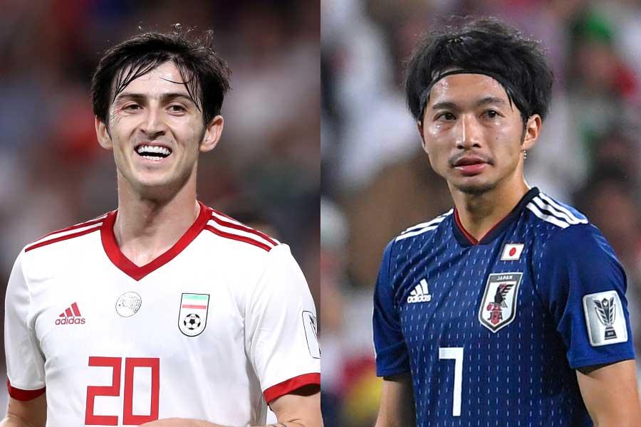 イラン代表FWアズムン(左)、日本代表MF柴崎岳(右)【写真:Getty Images】