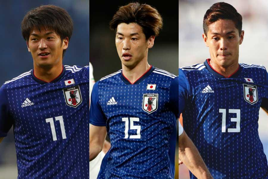 (左から)日本代表FW北川、FW大迫、FW武藤【写真:田口有史】