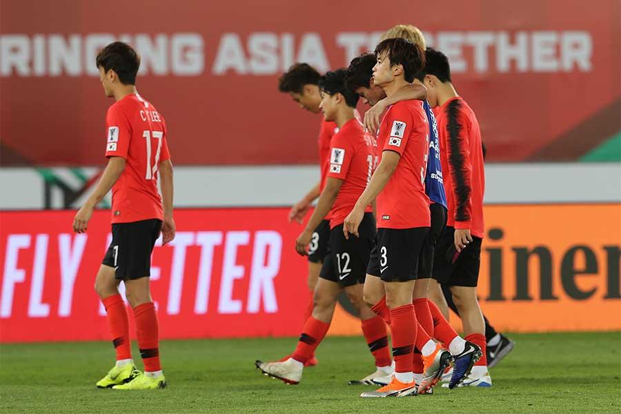 韓国は準々決勝でカタールに敗れ、15年ぶりにベスト8で姿を消した【写真:AP】