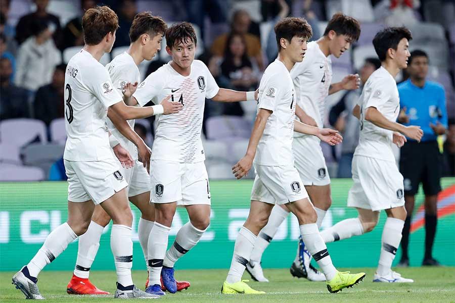 韓国代表はキルギス戦に1-0で勝利し、グループリーグ突破を決めた【写真:AP】