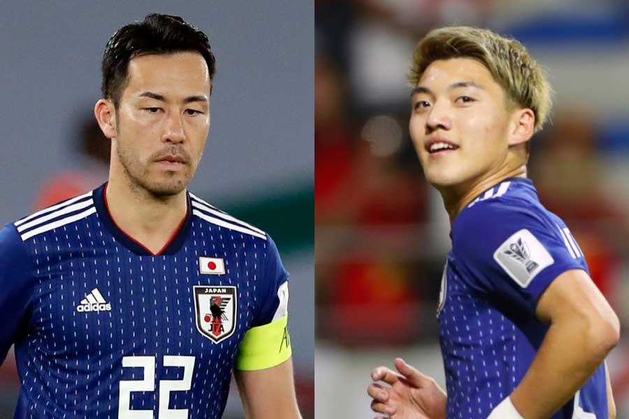 VARでゴールを取り消されたDF吉田(左)、VARで獲得したPKを自ら沈めたMF堂安(右)【写真:Yukihito Taguchi & AP】
