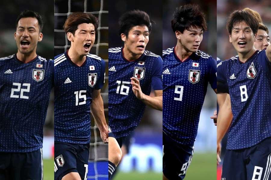 (左から) 吉田、大迫、冨安、南野、原口【写真:Getty Images & AP】