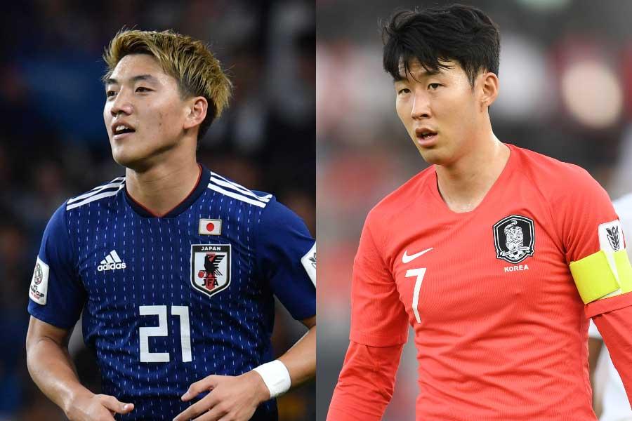 (左から)日本代表MF堂安、韓国代表代表FWソン・フンミン【写真:ⒸAFC】