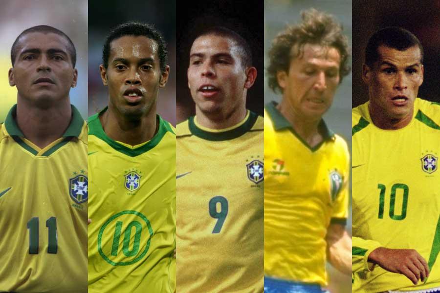 左からロマーリオ、ロナウジーニョ、ロナウド、ジーコ、リバウド【写真:Getty Images】