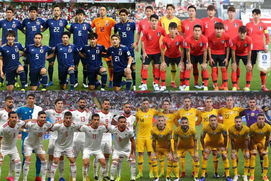 (上段左から)日本代表、韓国代表、(下段左から)イラン代表、オーストラリア代表【写真:Getty Images & AP】