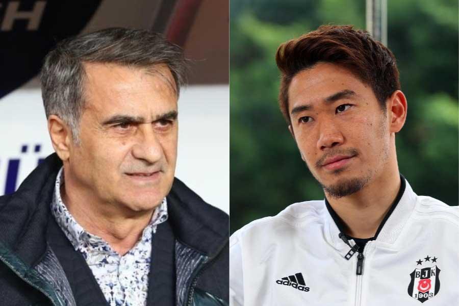 試合後にギュネシュ監督(左)が香川を批判したとして現地で注目を集めている【写真:(C)BesiktasJK】