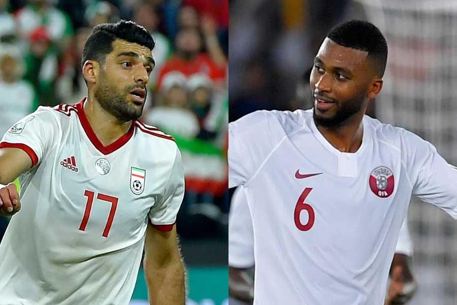 アル・ガラファのイラン代表FWメフディ・タレミ(左)、カタール代表MFアブデルアジズ・ハティム(右)【写真:Getty Images】