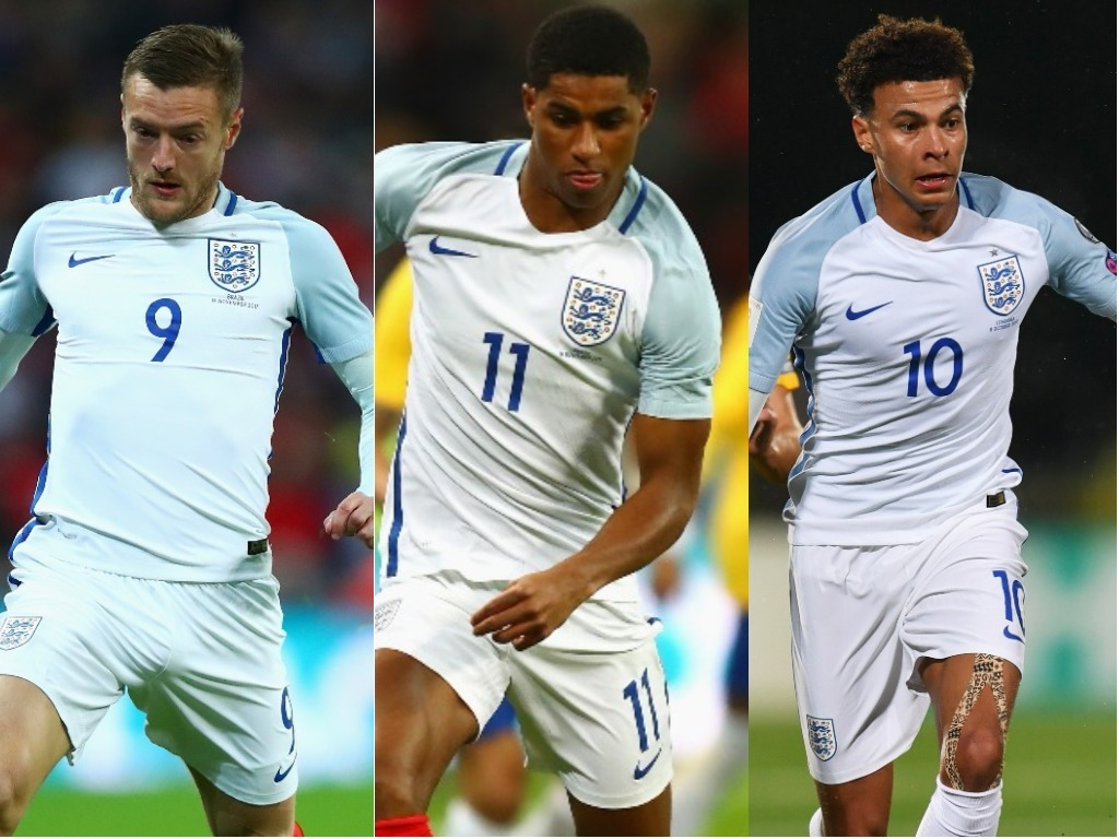 イングランド代表がメンバー発表!(左から)ヴァーディ、ラッシュフォード、デレ・アリ【写真:Getty Images】