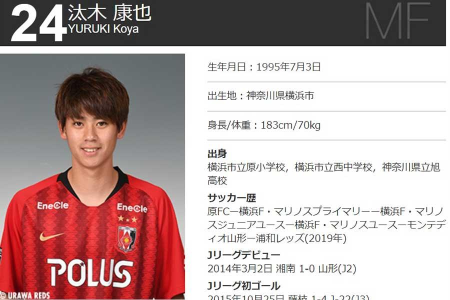 今季から浦和でプレーするMF汰木康也【写真:クラブ公式サイトのスクリーンショットです】