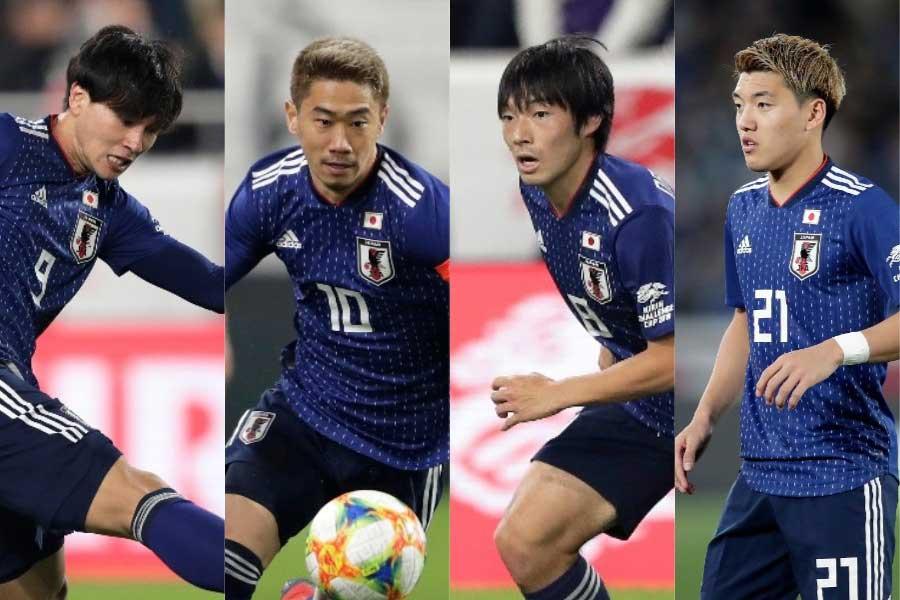 (左から) 南野、香川、中島、堂安【写真:Getty Images】