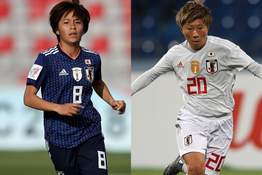 AFCアジアカップでMVPを獲得した岩渕(左)と4ゴールを挙げた横山【写真:Getty Images】