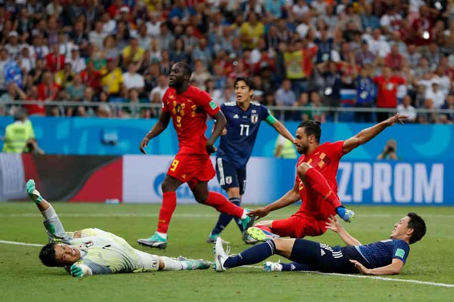 """磐田湘南戦で、ロシアW杯で日本が喫した""""14秒高速カウンター弾""""を彷彿させる一撃が生まれた【写真:AP】"""