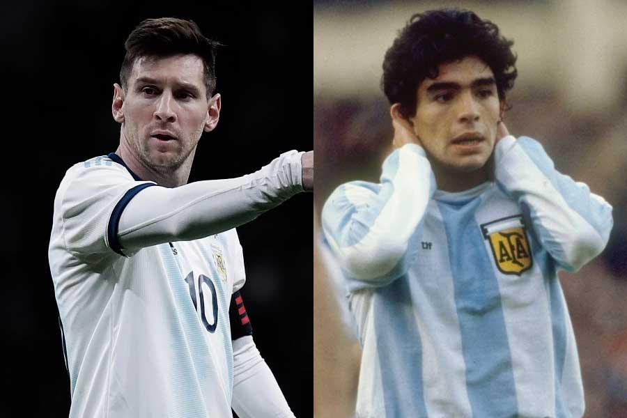(左から)アルゼンチン代表FWメッシ、元アルゼンチン代表のマラドーナ氏【写真:Getty Images】
