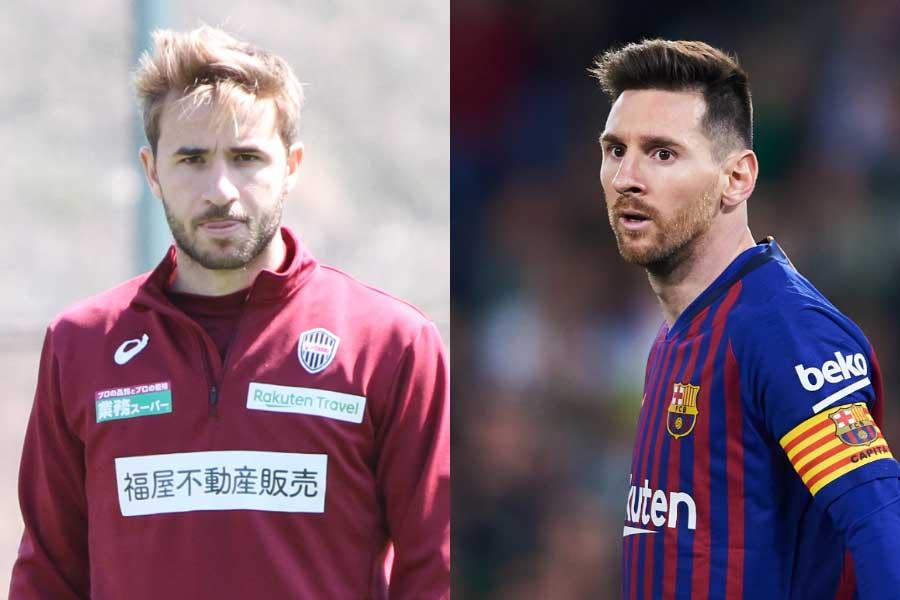 サンペール(左)がメッシ(右)を絶賛している【写真:Football ZONE web & Getty Images】