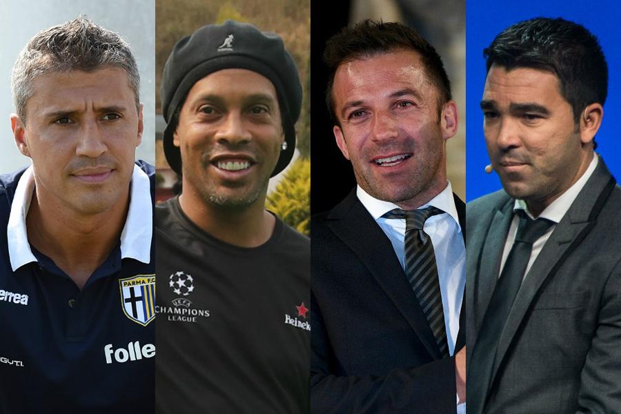 (左から)エルナン・クレスポ、ロナウジーニョ、デル・ピエロ、デコ【写真:Getty Images】