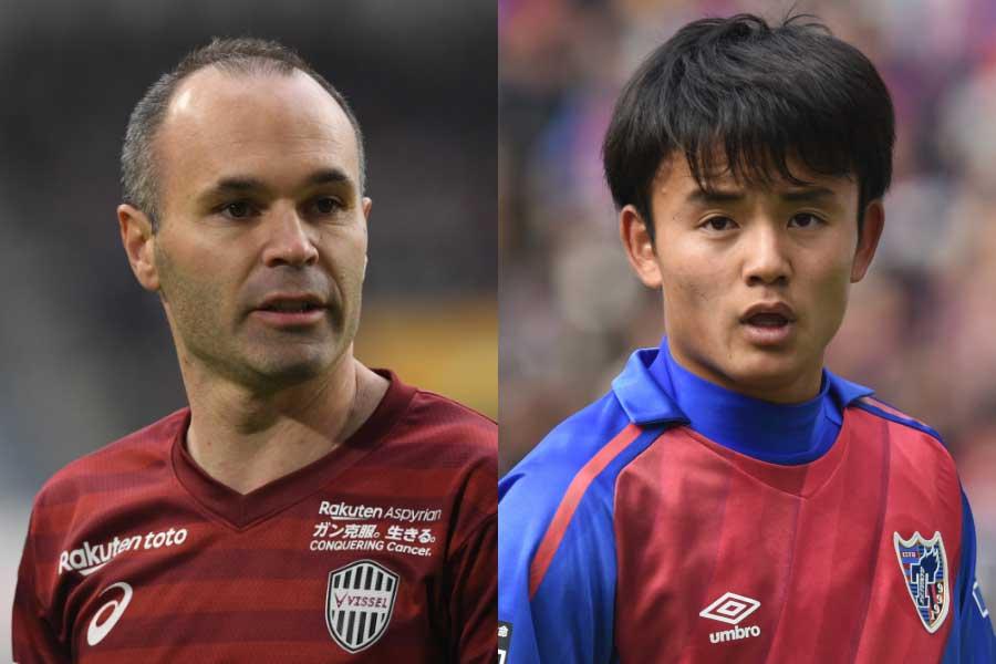 神戸MFイニエスタ(左)、FC東京MF久保建英(右)【写真:Getty Images】