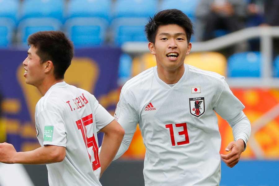 2ゴールを決めたU-20日本代表FW宮代大聖【写真:Getty Images】