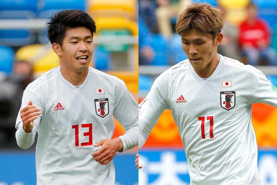(左から)U-20日本代表FW宮代、FW田川【写真:Getty Images】