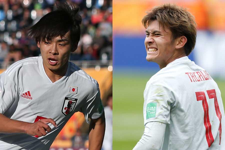 斉藤光毅(左)と田川亨介(右)が代表チームからの離脱が決まった【写真:Getty Images & AP】