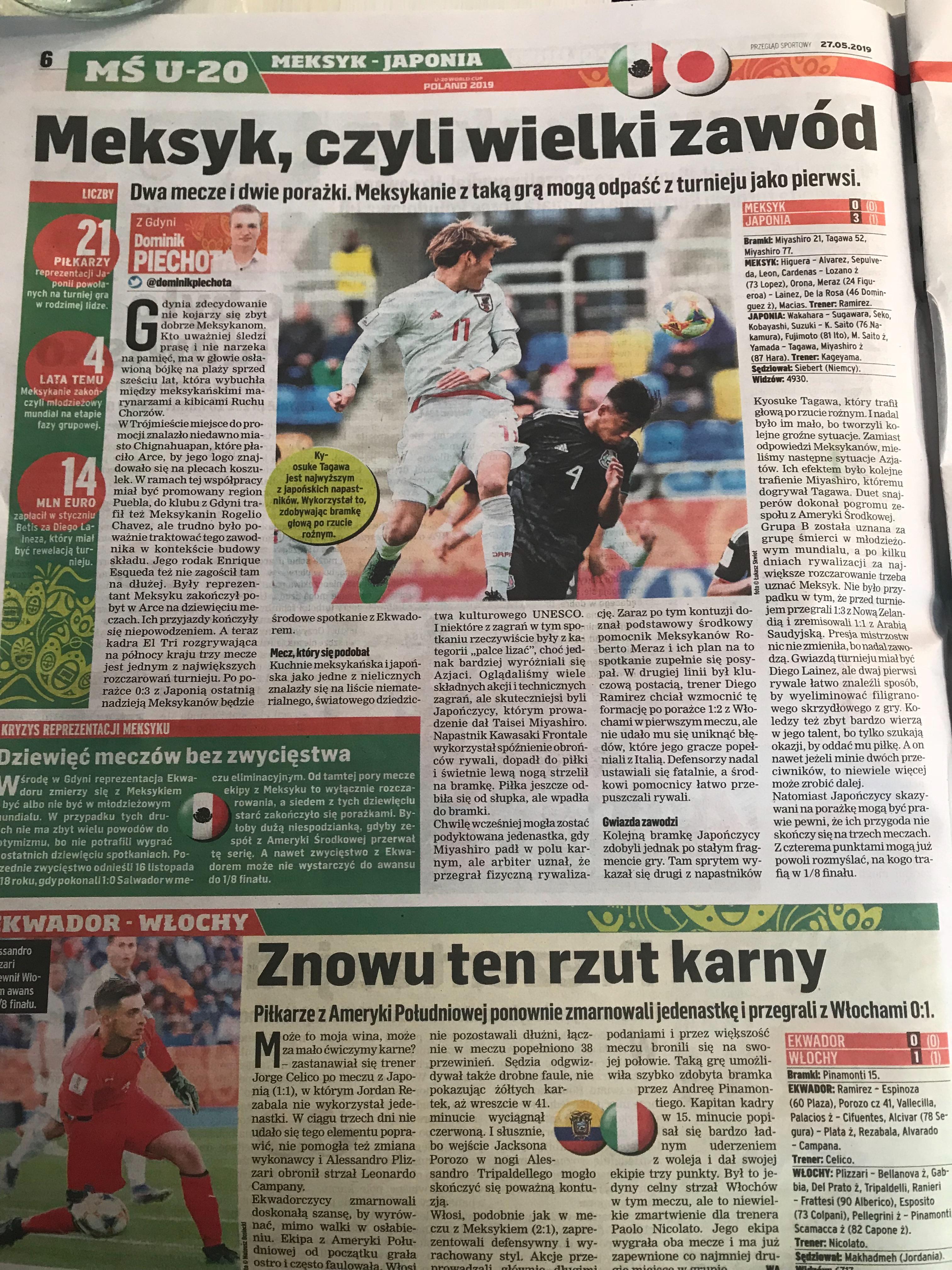 ポーランド地元紙「PRZEGLAD SPORTOWY」は、チームを勝利に導いた2人を称賛している【画像:林遼平】