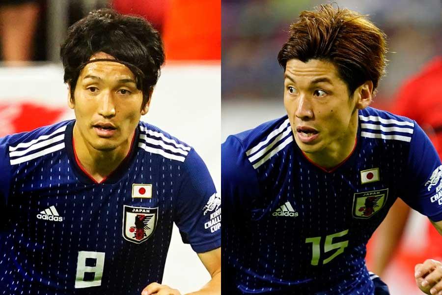 MF原口(左)とFW大迫(右)が3バックシステムについて言及【写真:Yukihito Taguchi】