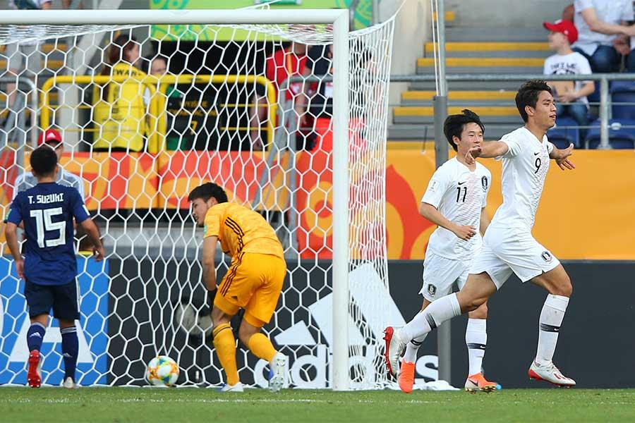 U-20W杯16強で韓国と対戦した日本は、終盤に失点を喫し準々決勝進出を逃した【写真:Getty Images】