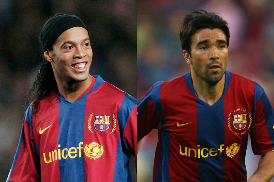 2008年にバルセロナを退団したロナウジーニョとデコ【写真:Getty Images】