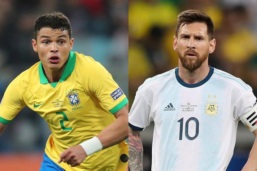 ブラジル代表DFのT・シウバとアルゼンチン代表FWメッシ【写真:AP】