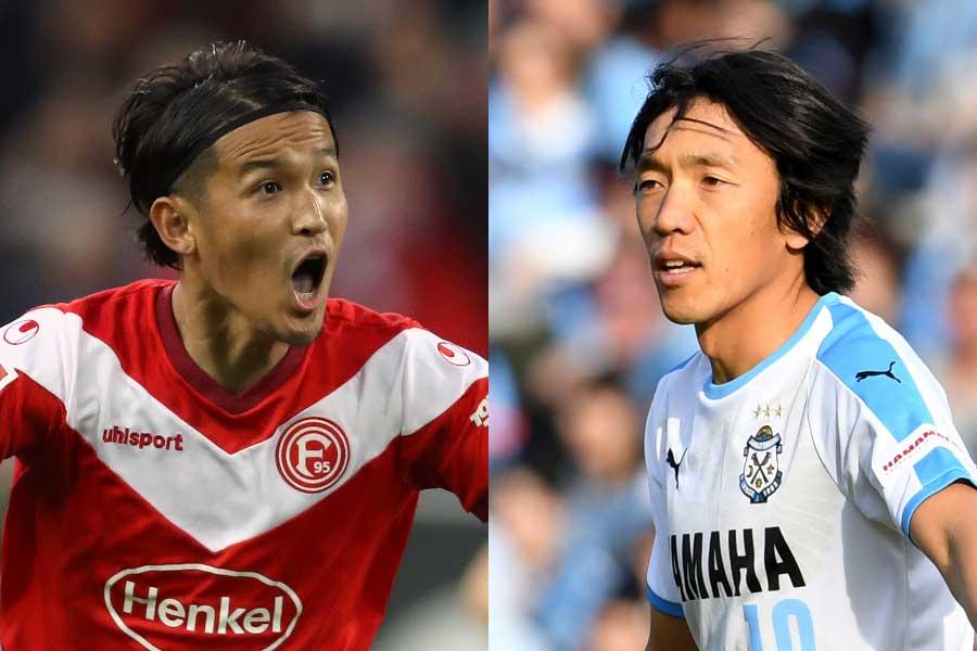 3年ぶりにG大阪に復帰した宇佐美(左)、横浜FCに加入した中村(右)【写真:Getty Images】