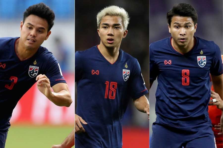 チームの主力と予想される3選手 (左から)  DFティーラトン、MFチャナティップ、MFティティパン【写真:Getty Images】