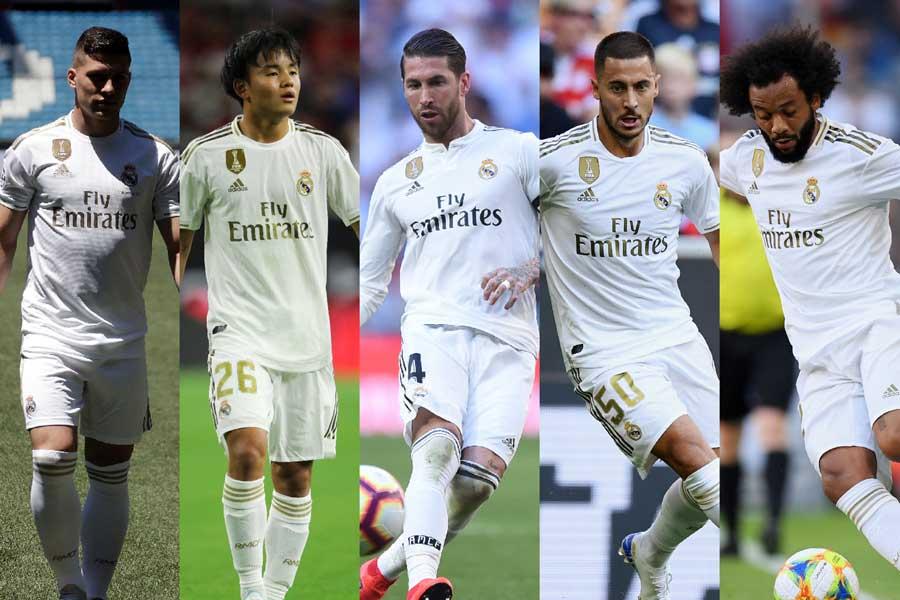 (左から)レアル・マドリードのFWヨビッチ、MF久保、DFラモス、MFアザール、DFマルセロ【写真:Getty Images】