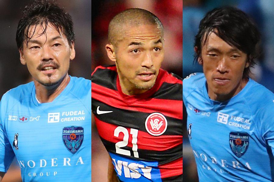 3ショットを公開した左から横浜FCのMF松井、琉球MF小野、横浜FCのMF中村【写真:高橋学&Getty Images】
